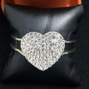 Big Heart Rhinestone Bangle Bracelet